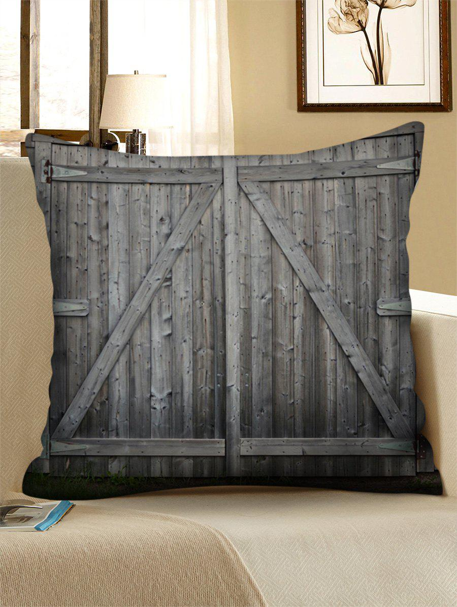 Wooden Double Door Print Linen Sofa Pillowcase - BATTLESHIP GRAY 45*45CM
