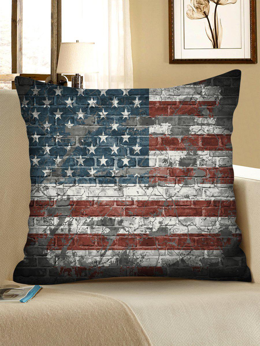 US Flag Brick Wall Print Linen Sofa Pillowcase - multicolor 45*45CM
