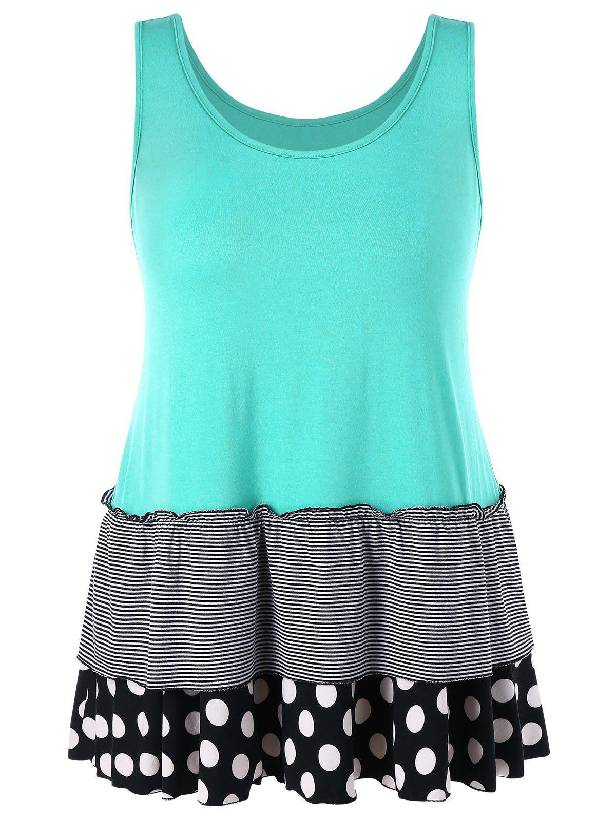 Color Block Plus Size Long Tank Top - MEDIUM TURQUOISE 1X