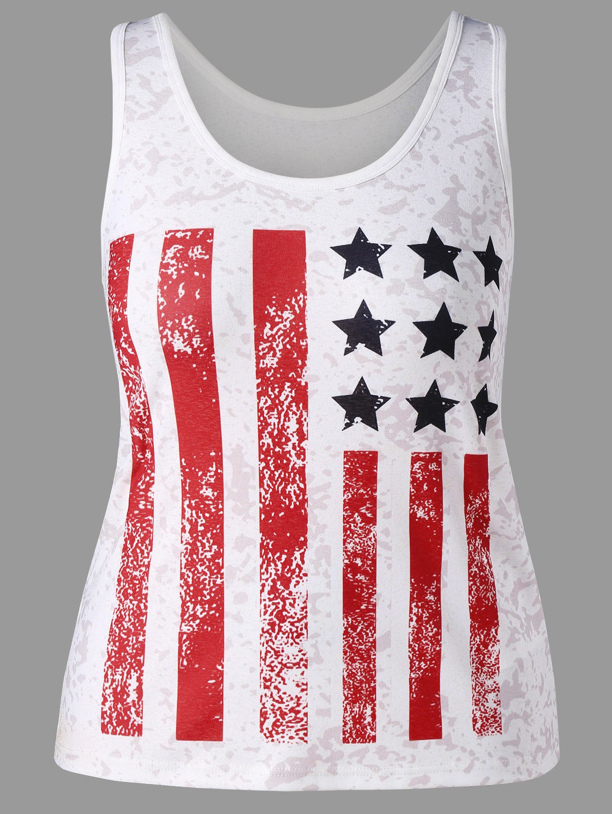 Flag Print Plus Size Patriotic Tank Top - WHITE 4XL