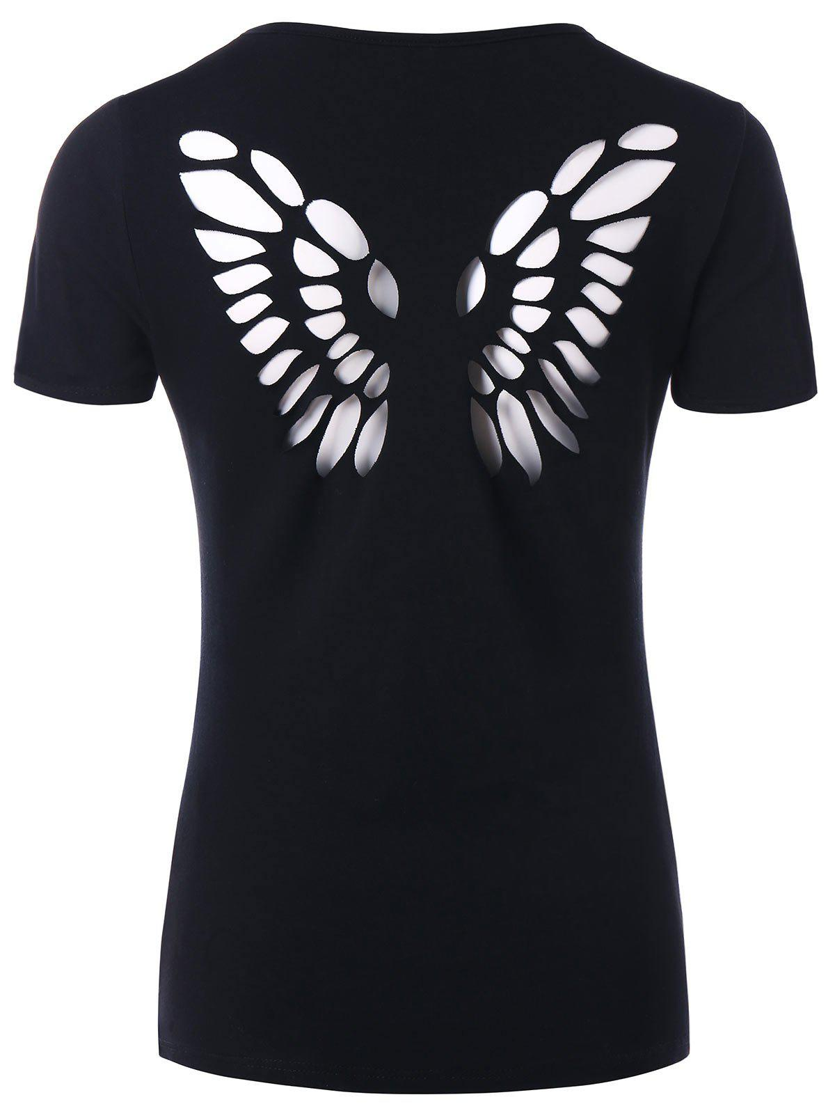 Butterfly Cut Out Back Tee - BLACK M