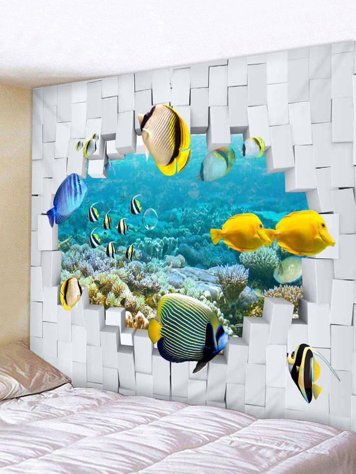 2018 Poissons Sous Marins 3d Impression Tapisserie Wall Art Blanc