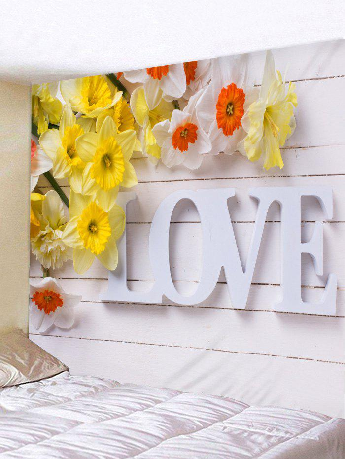 Wood Board Love Print Flower Wall Art Tapestry - multicolor W59 INCH * L51 INCH