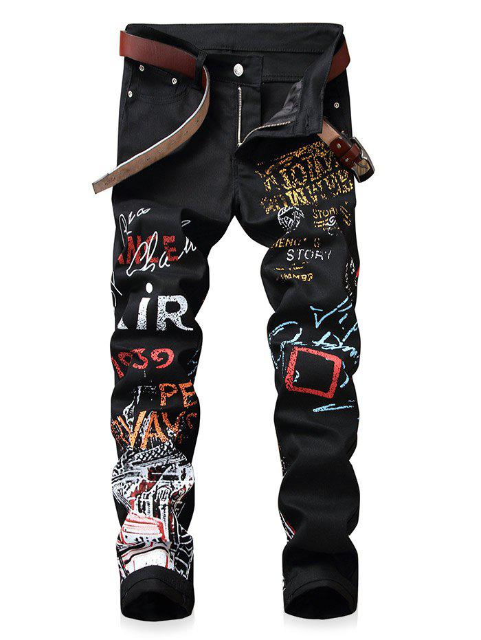 Narrow Feet Letter Print Jeans - BLACK 34