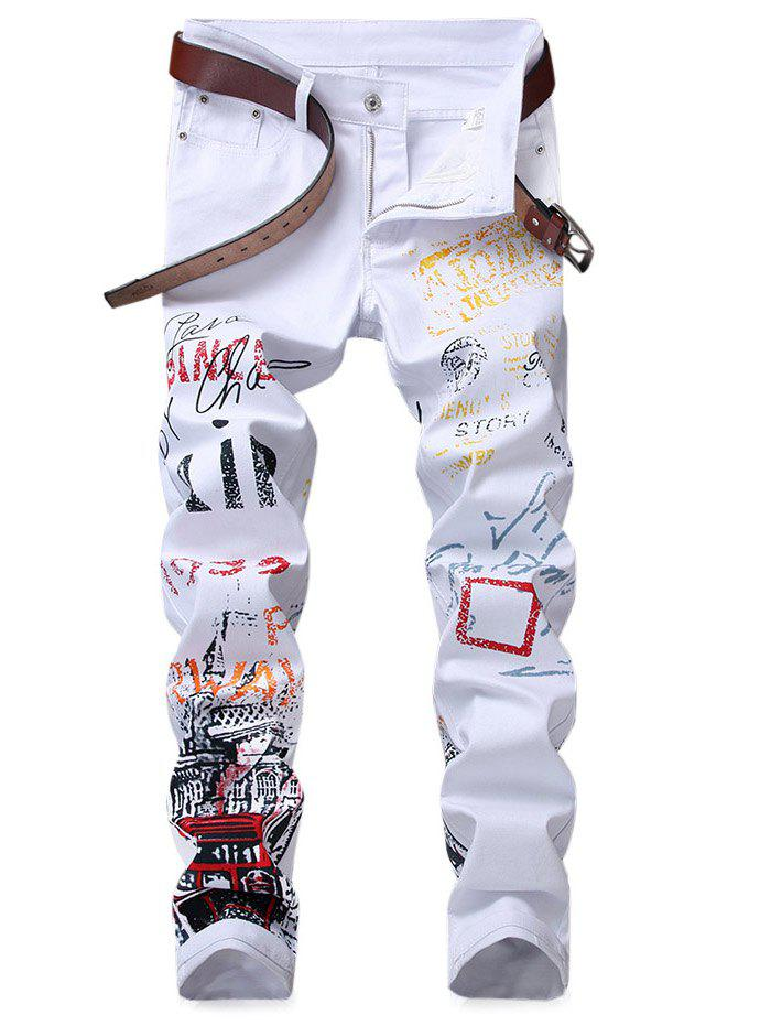 Narrow Feet Letter Print Jeans - WHITE 36