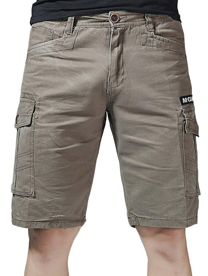 Zipper Fly Letter Print Cargo Shorts with Pockets letter print vest with tape detail shorts