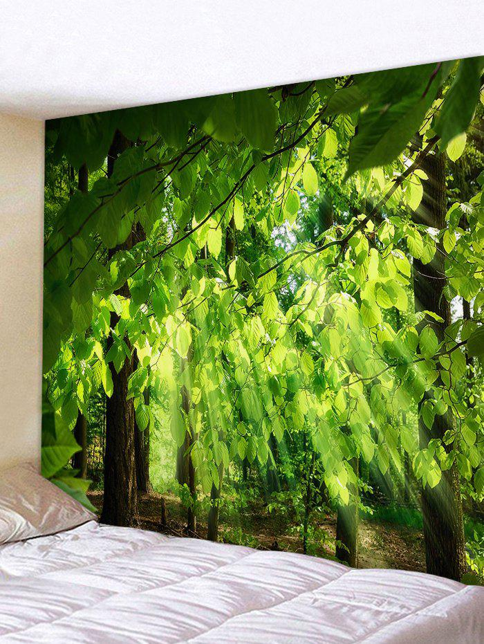 Sunlight Tree Leaves Printed Wall Art Tapestry waterproof decorative el cold light flexible cable w drive jade green 3m 2 x aa