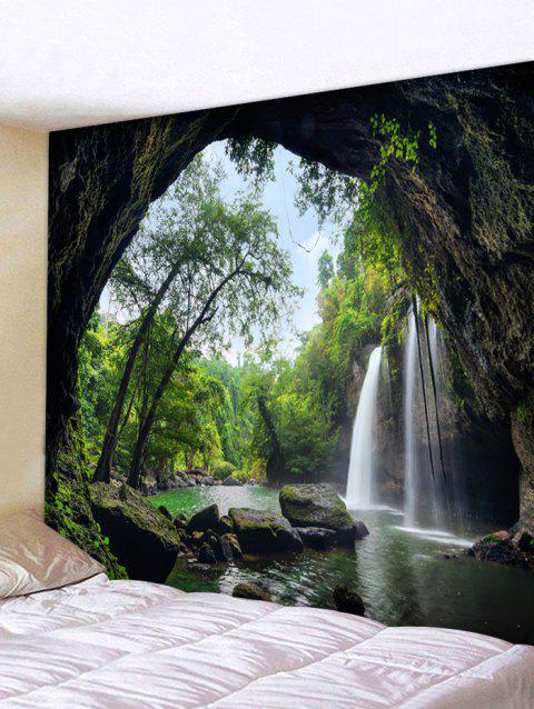 Deep Forest Waterfall Scenery Printed Wall Art  Tapestry - DARK FOREST GREEN W59 INCH * L79 INCH