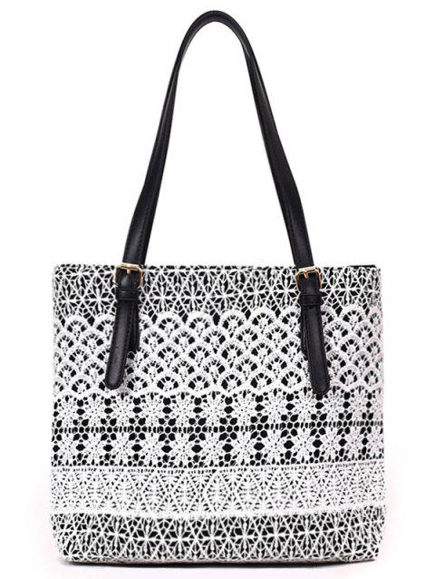 Shopping Lace Embellished Canvas Shoulder Bag - BLACK