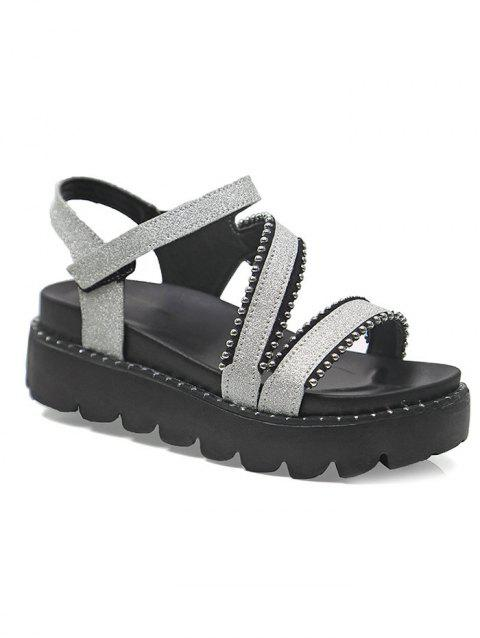 Beads Platform Sequined Chic Sandals - SILVER 39