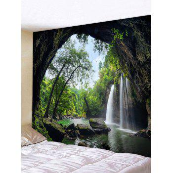 Deep Forest Waterfall Scenery Printed Wall Art  Tapestry