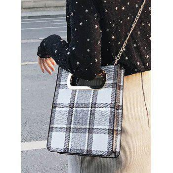 Square Shaped Checkered Crossbody Bag with Chain - GRAY CLOUD