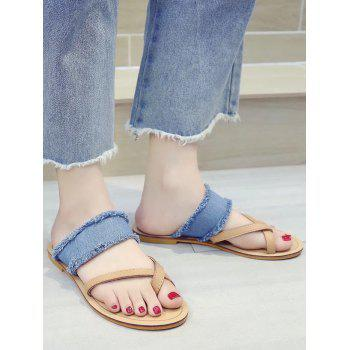 Denim Strap Flat Heel Criss Cross Sandals - BLUE 36