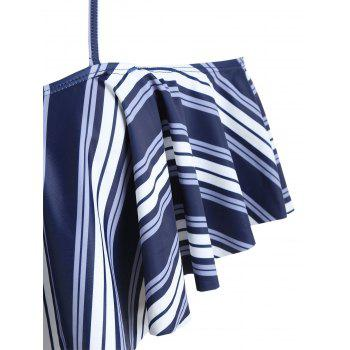 Flounce Striped High Leg Bikini - DEEP BLUE L