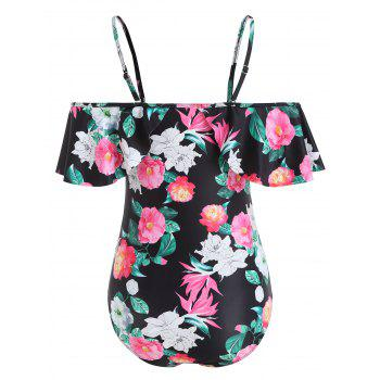 Flowers Pattern Flounce Swimsuit - BLACK L