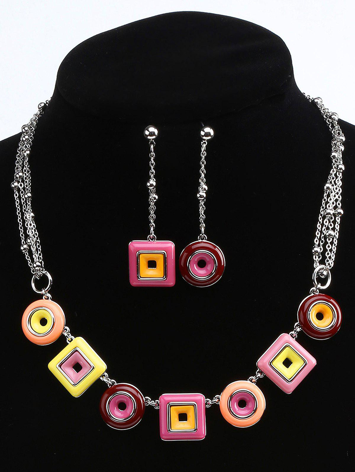 Geometric Round and Rectangle Necklace and Drop Earrings - multicolor