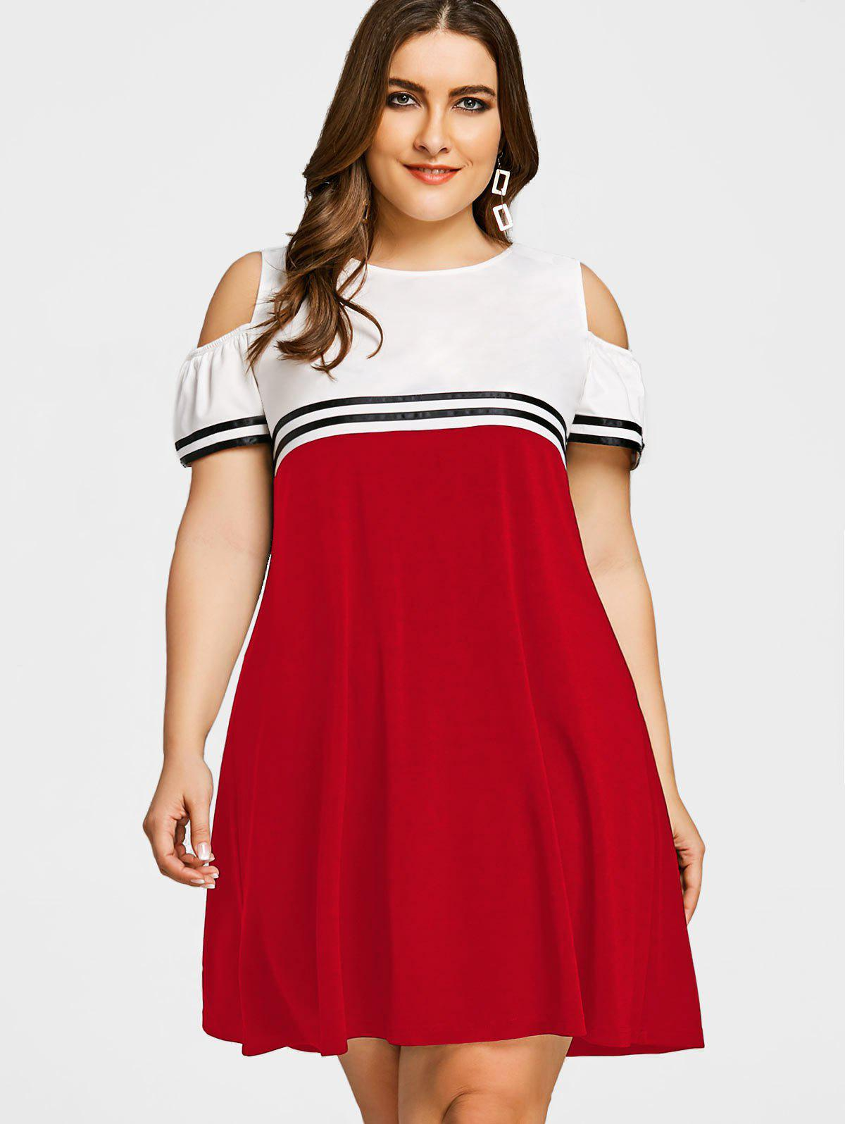 red swing dress plus size 2018 plus size cold shoulder swing dress love red xl in