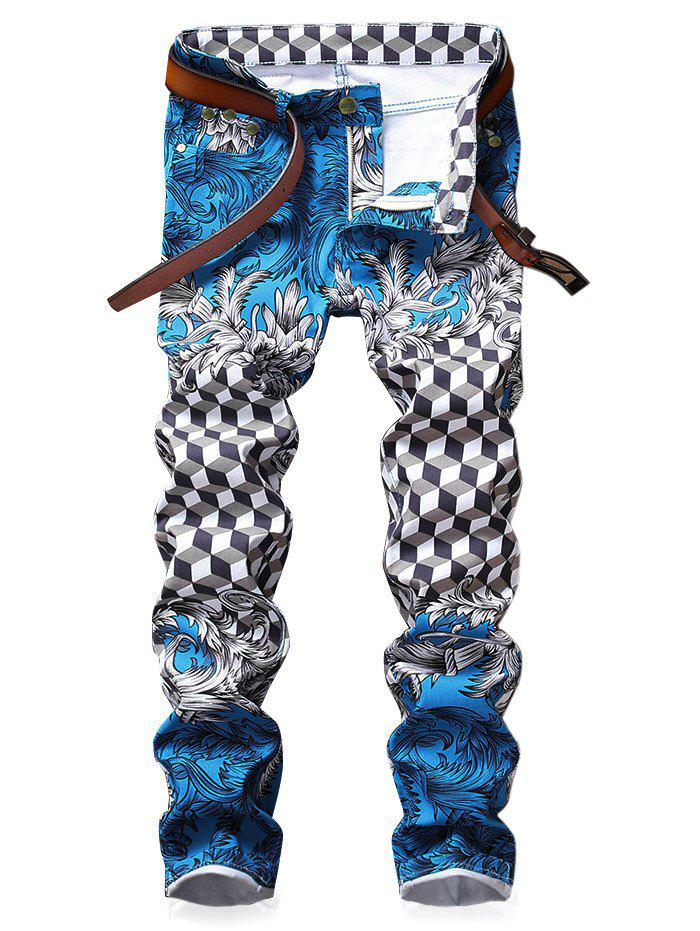 Geometrical Floral Print Geometrical Zipper Fly Jeans - multicolor 32