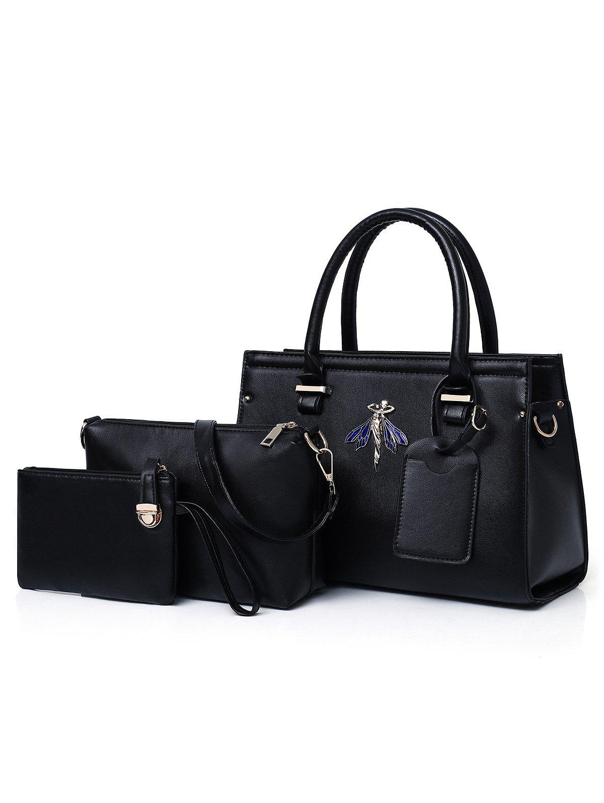 Top Handle Chic PU Leather 3 Pieces Handbag Set - BLACK