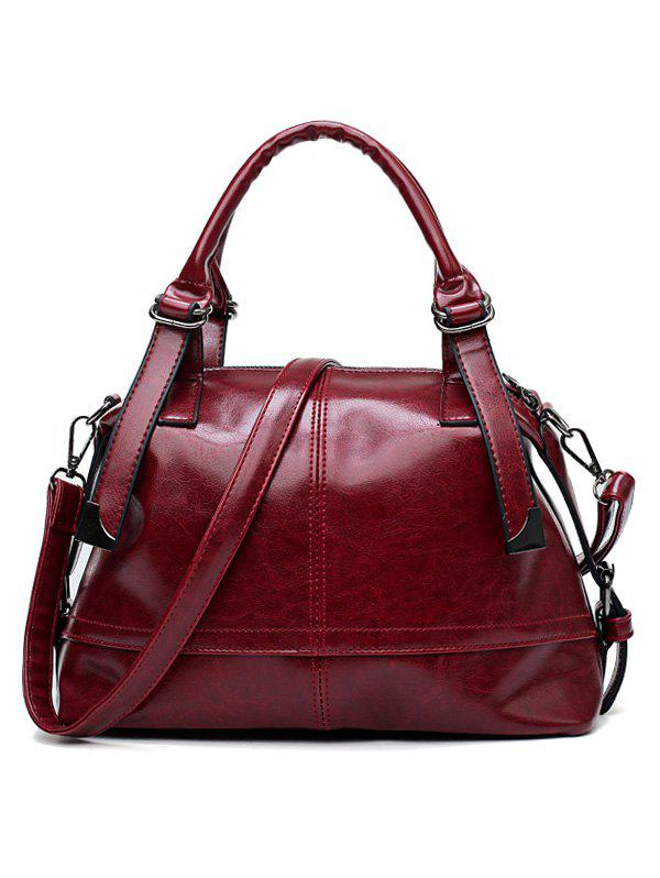 Bright PU Leather Multifunctional Travel Shoulder Bag with Handle Strap - RED WINE