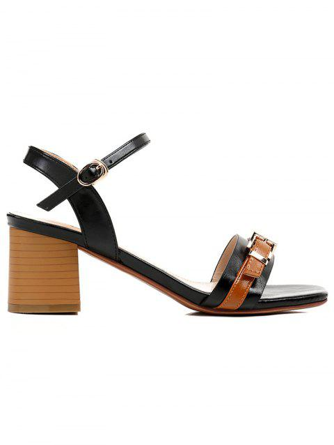 Lanbaoli Ankle Strap Leisure Chunky Heel Sandals - BLACK 36