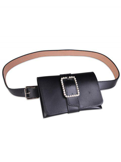 Faux Leather Belt Bag with Faux Pearl Decorated - BLACK
