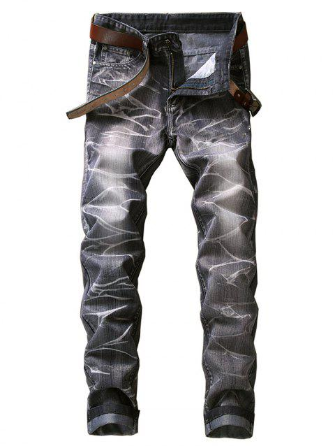 Smog Print Zipper Fly Jeans - GRAY 32
