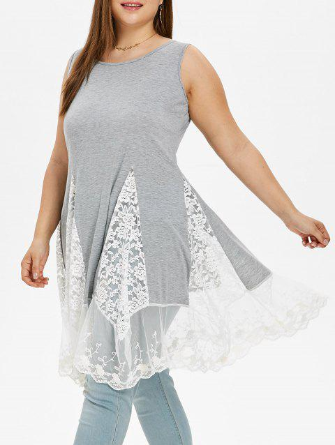 Long Sleeve Plus Size Asymmetrical Dress - LIGHT GRAY 2X