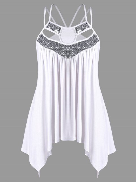 Plus Size Sequins Embellished Strappy Tank Top - WHITE 4XL
