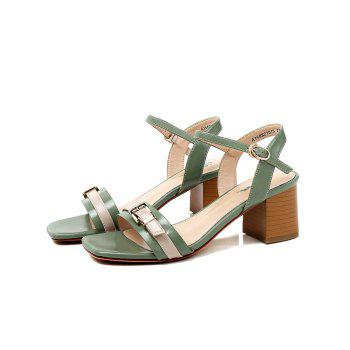 Lanbaoli Ankle Strap Leisure Chunky Heel Sandals - GREEN 36