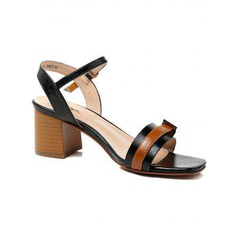 Lanbaoli Ankle Strap Leisure Chunky Heel Sandals - BLACK 38