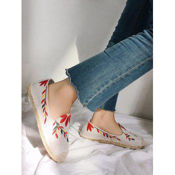 Flower Embroidery Round Toe Straw Loafers - WHITE 38