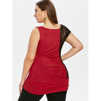 Plus Size Skew Collar Ruched T-shirt - RED L