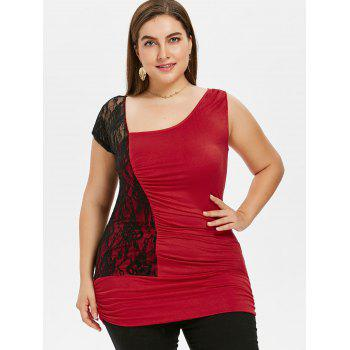 Plus Size Skew Collar Ruched T-shirt - RED 5X