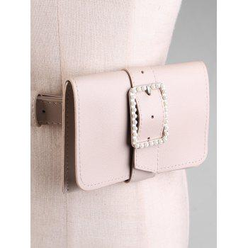 Faux Leather Belt Bag with Faux Pearl Decorated - DESERT SAND