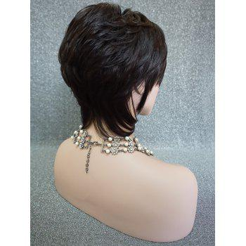 Short Inclined Fringe Layered Straight Human Hair Wig - NATURAL BLACK