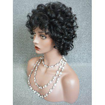 Short Inclined Fringe Fluffy Curly Human Hair Wig - BLACK