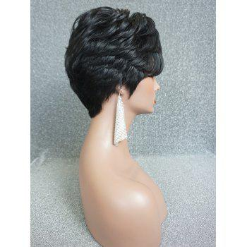 Short Inclined Bang Layered Textured Natural Straight Human Hair Wig - BLACK