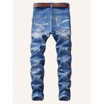 Smog Print Zipper Fly Jeans - DAY SKY BLUE 38