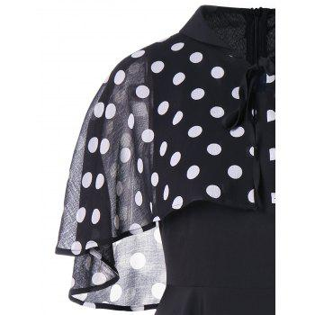 Retro Pin Up Dress With Polka Dot Cape - BLACK M