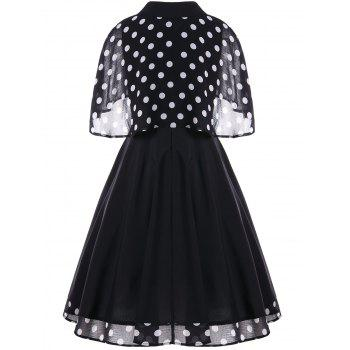 Retro Pin Up Dress With Polka Dot Cape - BLACK L