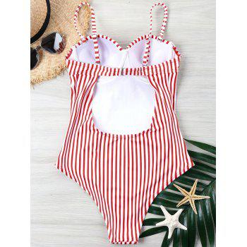 Striped Bustier One Piece Swimwear - RED S