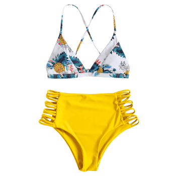 Pineapple Print Strappy High Rise Bikini Set - YELLOW L
