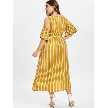 Plus Size Striped Cold Shoulder Dress - BEE YELLOW XL