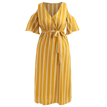 Plus Size Striped Cold Shoulder Dress - BEE YELLOW 4XL