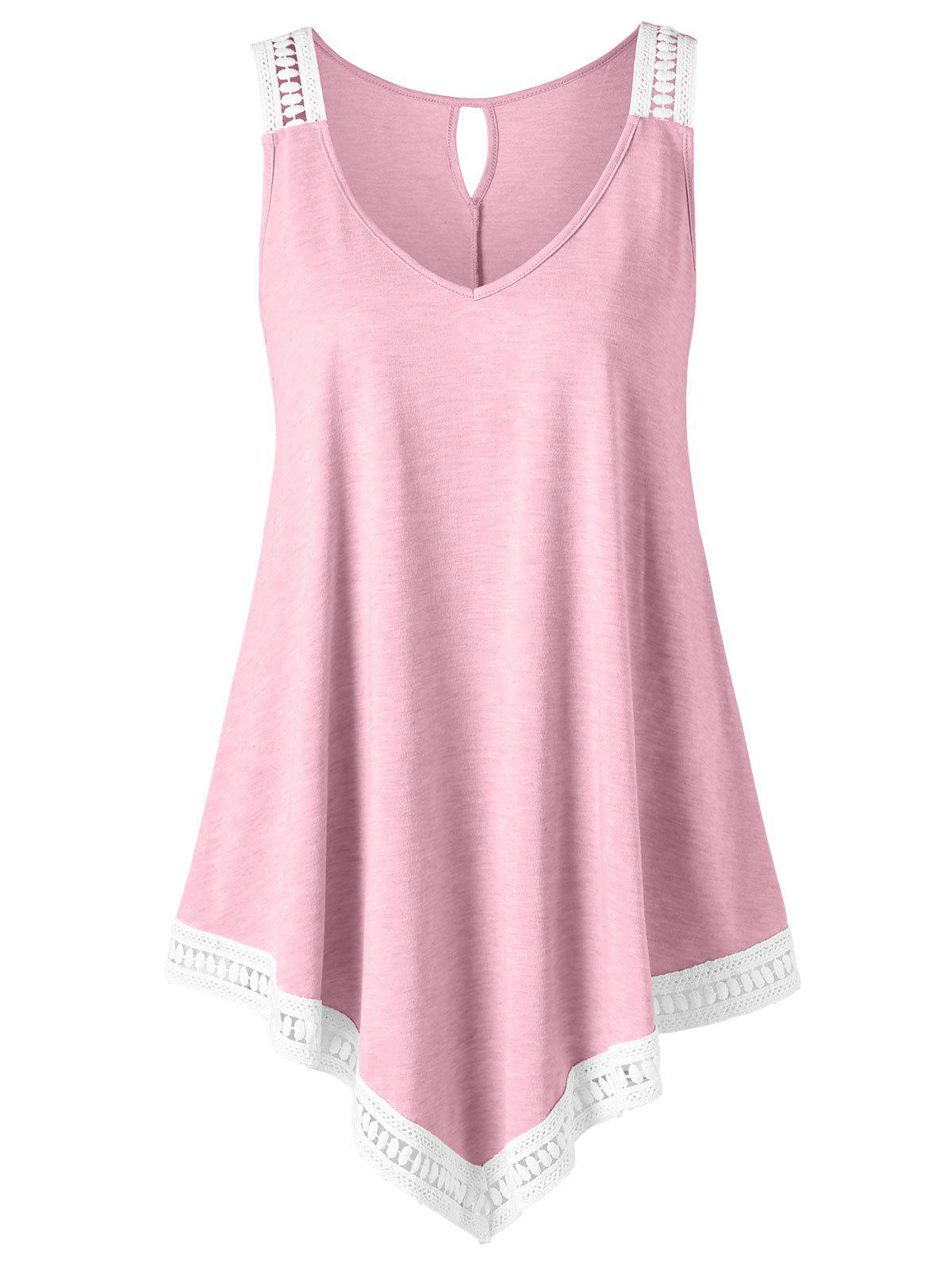 Plus Size V-neck Swing Tank Top - LIGHT PINK 5XL