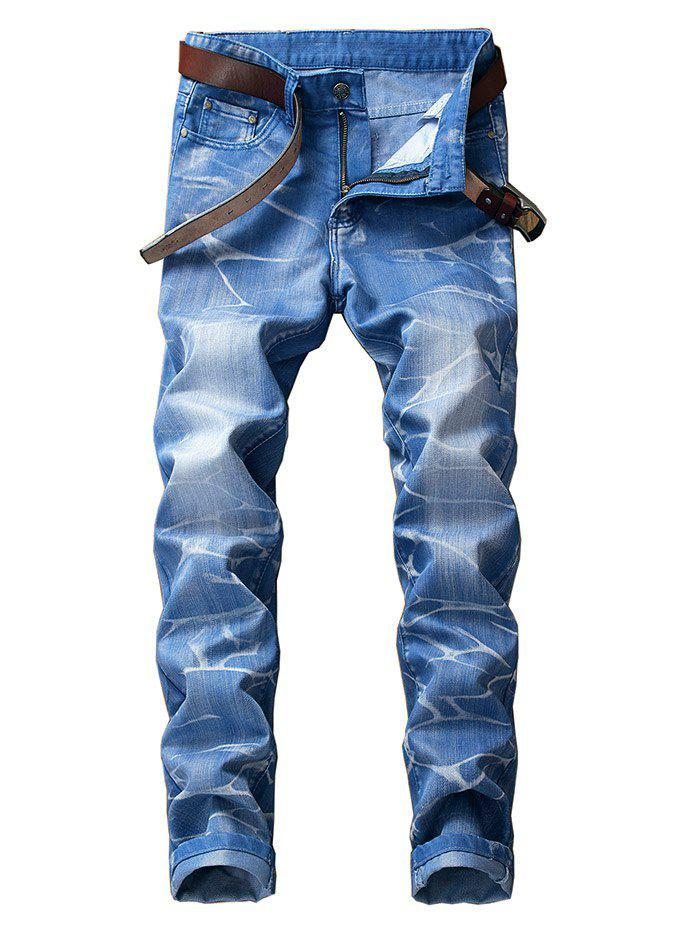 Smog Print Zipper Fly Jeans - DAY SKY BLUE 42
