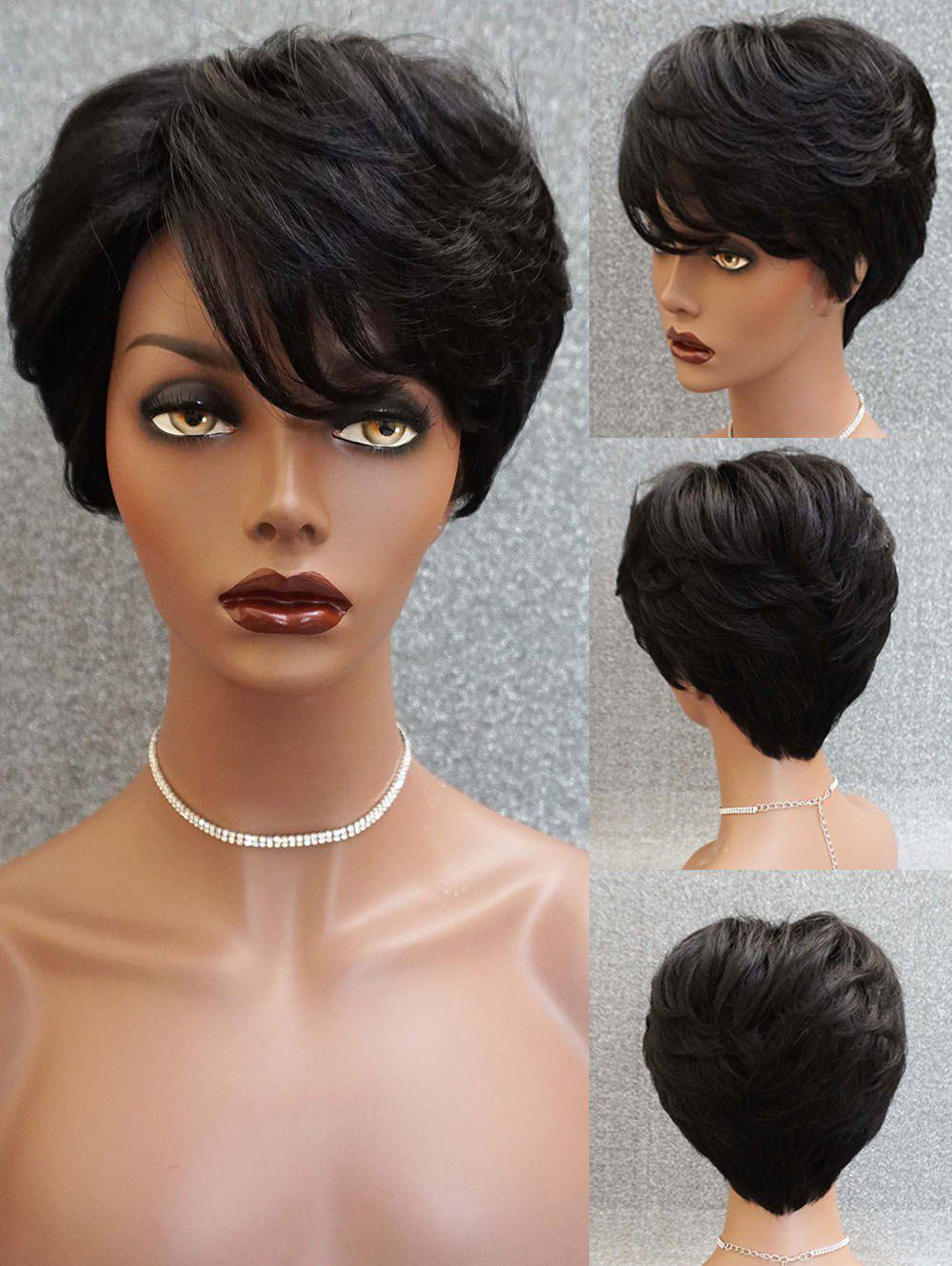 Short Inclined Bang Layered Straight Capless Human Hair Wig - NATURAL BLACK