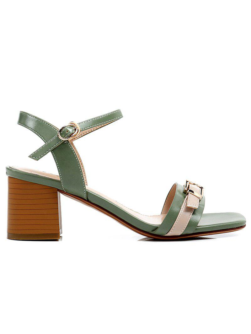 Lanbaoli Ankle Strap Leisure Chunky Heel Sandals - GREEN 38