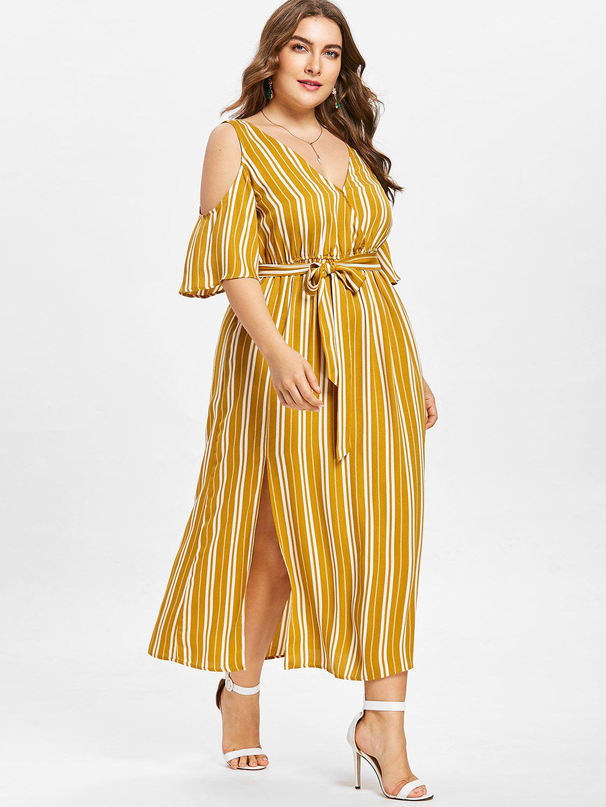 Plus Size Striped Cold Shoulder Dress - BEE YELLOW 2XL